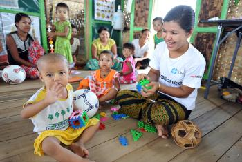 An LWF-run child-friendly space in Thi Kyar village, Mrauk U township, Rakhine state, Myanmar. Photo:C/Kästner