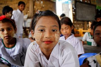 The prospect of a better education is more likely for Ma Khin Nu, seven, a resident of the Ohn Taw Gyi camp, Myanmar. Photo: LWF Myanmar/Isaac Kyaw Htun Hla