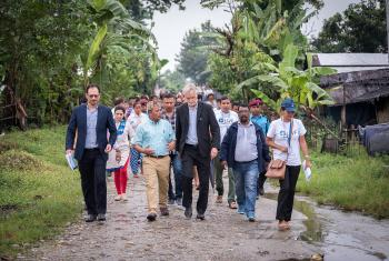 Camp secretary Rev. Tikaram Rasaily shows Rev. Dr Martin Junge around the Beldangi refugee camp, Jhapa district, Nepal. All photos: LWF /  Albin Hillert