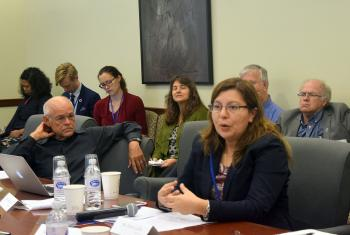 Caption: Ms Elena Cedillo, representative of the LWF Central America program, speaks at a side event of the UN High Level Political Forum 2017 in New York. On the left is Dr William F. Vendley, Secretary General, World Conference of Religions for Peace. Photo: Lutheran Office for World Community