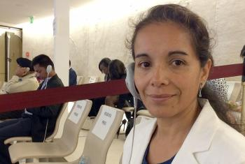 Rev. Dr Patricia Cuyatti, LWF area secretary for Latin America and the Caribbean, before the start of the UPR session on Nicaragua, 18 September, in Geneva. Photo: LWF/M. Spangler