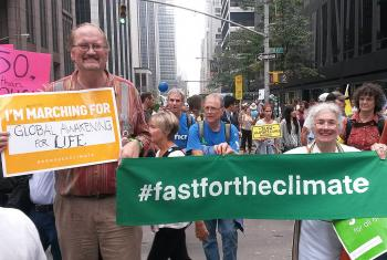 "The LWF delegation to the New York Climate events participated in the ""Largest Climate March"" in history, held 21 September, in New York City. Photo: #FastForTheClimate/Nikola Taylor"