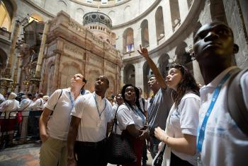 Participants in the LWF Peace Messenger Training tour the Church of the Holy Sepulchre in Jerusalem on Friday September 22, 2017 while visiting holy sites in the Old City. Photo: ELCJHL/Ben Gray