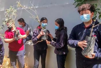 The Environmental Education Center (EEC) of the Evangelical Lutheran Church in Jordan and the Holy Land (ELCJHL) educates youth to be stewards of creation through learning programs and practical activities such as planting olive trees. Photo: EEC