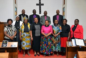 Current and past bishops of the Evangelical Lutheran Church in Tanzania, with the first eight female clergy in the Northern Diocese, which recently marked 25 years of women's ordination. Photo: ELCT/Richard A. Mmbaga