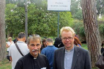 The Piazza Martin Lutero constitutes an ecumenical witness in the daily life of residents and visitors to Rome, says Lutheran pastor Rev. Jens-Martin Kruse (right), who witnessed the inauguration of the public square with hundreds of parish members including Rev. Per Edler (left) of the Swedish-speaking congregation. Photo: Silke Kruse