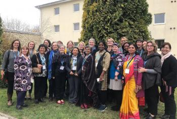 Participants in the Global Consultation of Women doing Theology gather outside the Warsaw conference center where they are reflecting on biblical texts and relate them to the challenges they face in their churches today. Photo: LWF/P. Hitchen