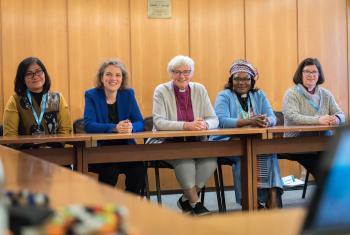 Five LWF vice-presidents: from left to right, Desri Maria Sumbayak, Propstin Astrid Klein, Archbishop Antje Jackelen, Rev. Jeannette Ada Epse Maina and Presiding Bishop Elizabeth Eaton Photo: LWF/A. Hillert