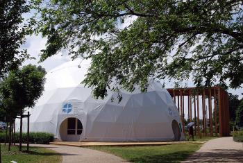 The LWF Heaven's Tent in the Luthergarten in Wittenberg awaits visitors to the World Reformation Exhibition. Photo: LWF/Annette Glaubig