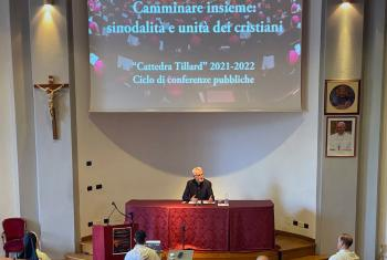 LWF General Secretary Rev. Dr Martin Junge delivers a lecture at the Pontifical University of St Thomas Aquinas (Angelicum) on Synodality and Christian Unity from a Lutheran perspective. Photo: LWF/A. Danielsson