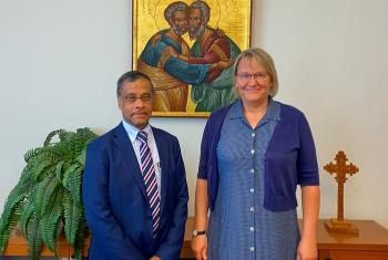 LWF's World Service Department director, Maria Immonen and the Secretary General of Caritas Internationalis, Aloysius John. Photo: LWF/A. Danielsson
