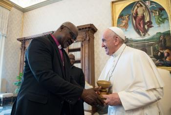 LWF President Archbishop Dr. Panti Filibus Musa and Pope Francis. Photo credit: Vatican media