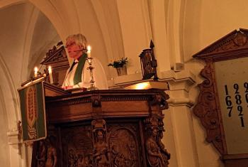 """Today's gospel allows us to believe that it needs the recognition of a wounded God to overcome violence"" - Swedish Archbishop Antje Jackelén giving the opening sermon of the Europe Pre-Assembly. Photo: LWF/A. Daníelsson"