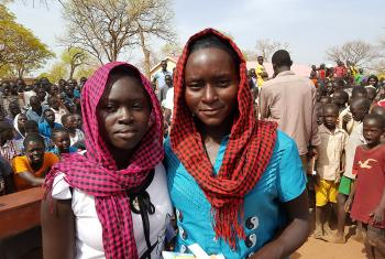 Randa Osman Al-Majalis (left) and Rebecca Makki (right), two of the top five students from Ajoung Thok awarded by the ministry. Photo: LWF/ A. Mwaura