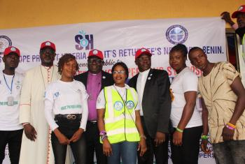 LWF President Archbishop Dr Panti Filibus Musa (second left), LCCN Abuja Bishop Dr Benjamin Fuduta (fourth left) and SOH national coordinator Rev. Dr Lesmore G. Ezekiel (third right), with SOH Ambassadors of Hope (from left to right) Osaretin Ushoma, Happiness Ehime, Ngozi Nwachuku and Kenneth Bright. Photo: ALCINET/Felix Samari