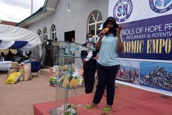 Ms Canaan Osagie speaking at the Symbols of Hope mid-September event in Benin City, southern Nigeria. All photos: SOH Nigeria
