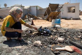 A young woman in Za'atari camp, Jordan. Photo: LWF/ M. de la Guardia