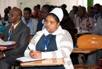 Delegates follow a presentation at the 20th General Assembly of the ELCT at the Tumaini University in Makumira, near Arusha, Tanzania. Photo: ELCT/Neng'ida Lairumbe