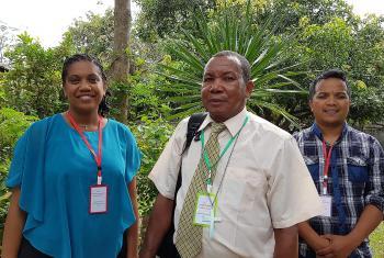 Malagasy Lutheran Church representatives: overseas mission coordinator Rakotondramiadana Holiharifetra, vice president Rev. Andrianjafy Octave Benil, and pastor Rev. Ravaka Ratovohery. Photo: LWF/P. Lok