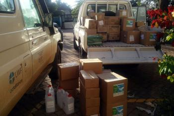 Personal protective equipment and hygiene items being loaded for delivery to LWF staff in refugee settlements in Uganda. All photos: LWF Uganda