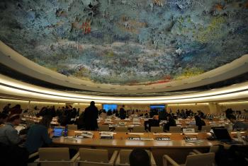 The ceiling of the Human Rights Council, in the Palais des Nations. Because of the COVID-19 crisis, the 44th session took place online. Photo: LWF/C. Kästner