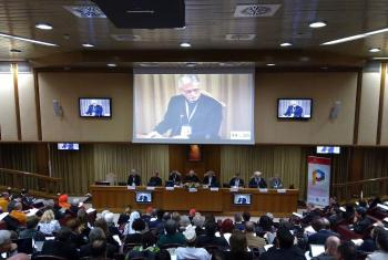 LWF General Secretary Rev. Dr. Martin Junge speaks at an interfaith panel on the opening day of the Vatican conference on Religions and the Sustainable Development Goals. Photo: GCCM