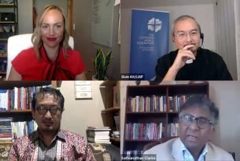 Panelists discussing global responses to religious nationalism: clockwise from top left, ELCA pastor Rev. Angela Denker, LWF moderator Rev. Dr Sivin Kit, Dr Sathianathan Clarke of Wesley Theological Seminary and Dr Dicky Sofjan of the ICRS. Photo: Screenshot from the webinar