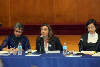 """LWF's Maria Cristina Rendón (center) called for strong commitment by faith-based organizations to eradicate global poverty. Rendón, moderating a panel on """"Women's empowerment and its link to sustainable development"""" at the 60th session of the UN Commission on the Status of Women. Other speakers included (left) Lopa Banerjee, UN Women; and Caterina Tino, UN Children's Fund – UNICEF. Photo: Nick Jaech"""