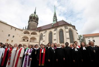 More than 120 pastors from 18 countries campaigned for women's ordination in Wittenberg, Germany. Photos: LWF/Marko Schoeneberg