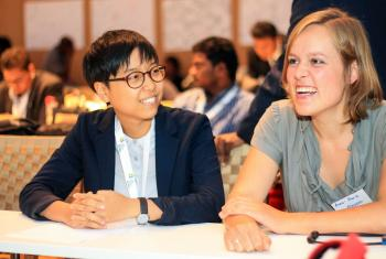 LWF Vice-President for Asia, Eun-hae Kwon (left), with LWF Council member, Anna-Maria Klassen, praised young Lutherans for their efforts to address challenges faced by Christians globally. Photo: Johanan Celine Valeriano