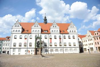 A statue of Martin Luther in front of the town hall in Wittenberg. Photo: LWF/M. Renaux