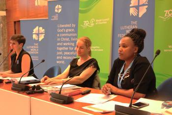 Jillian Aballe (World Council of Churches), Christine Löw (UN Women Geneva liaison office) and Christine Mangale (Lutheran Office for World Community) sit on a panel during the women's human rights advocacy training for faith-based organizations, held in Geneva. Photo: LWF/George Arende