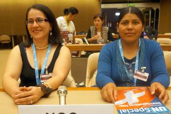 Rev. Suyapa Ordoñez (left) from the Christian Lutheran Church of Honduras and Rita Flores, Bolivian Evangelical Lutheran Church, participated in the July 2016 FBOs' training on women's human rights, and attended the 64th CEDAW session at the United Nations in Geneva. Photo: LWF/C. Rendón