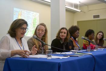 Panelists at the LWF-WCC side event at the 59th session of the UN Commission on the Status of Women, in New York, 12 March. Photo: Mikka MacKraken/ELCA