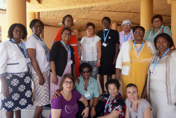 LWF staff join women from Namibia's Lutheran churches at the November meeting in Windhoek, kicking off women's preparations to host the Pre-Assembly and the Twelfth LWF Assembly in May 2017. Photo: LWF