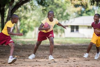 A group of students at Ricks Institute play football in the schoolyard. All photos: LWF/Albin Hillert