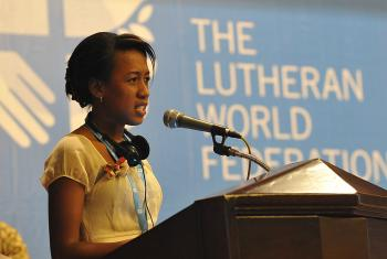 Mami Brunah Aro Sandaniaina of the Malagasy Lutheran Church asks the Council how their churches engage young people who have taken part in LWF youth programs. Photo: LWF/M. Renaux