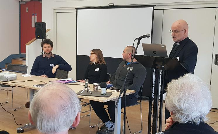 From left to right: Rev. Dr Hugo Adán Fernandez (Holy Trinity with St Matthew parish), Rev. Sarah Farrow (St Anne's Lutheran Church), Dr Chris Asprey (l' Arche) and Rev. Dr Jaakko Rusama (Lutheran co-moderator, Anglican Lutheran Society). Photo: LWF/P. Bouwman