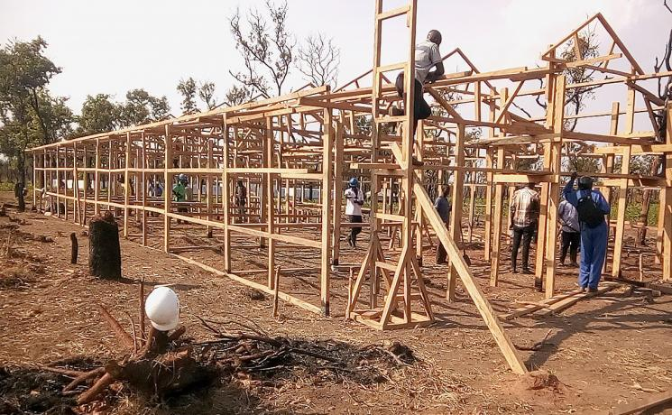 The construction site of the new health center, which will benefit about 14,00 Congolese refugees and nearby host communities. Photo: LWF Angola