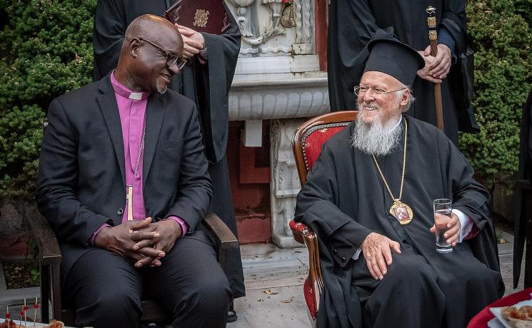 LWF President Archbishop Dr Panti Filibus Musa and His All-Holiness the Ecumenical Patriarch Bartholomew I, together after Vespers at the Stavropegial Monastery of the Life-giving Spring at Baloukli, on Sunday 10 June. Photo: LWF/ A. S. Danielsson