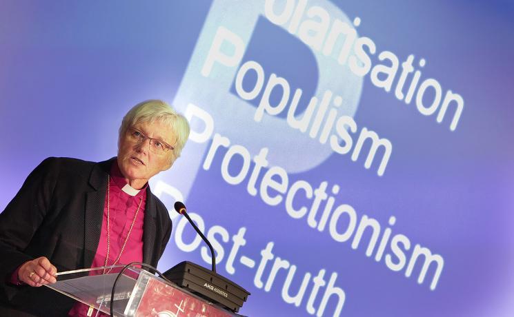 Archbishop Antje Jackelén during her keynote presentation at the CEC General Assembly in Novi Sad. Photo: Mladen Trkulja/CEC