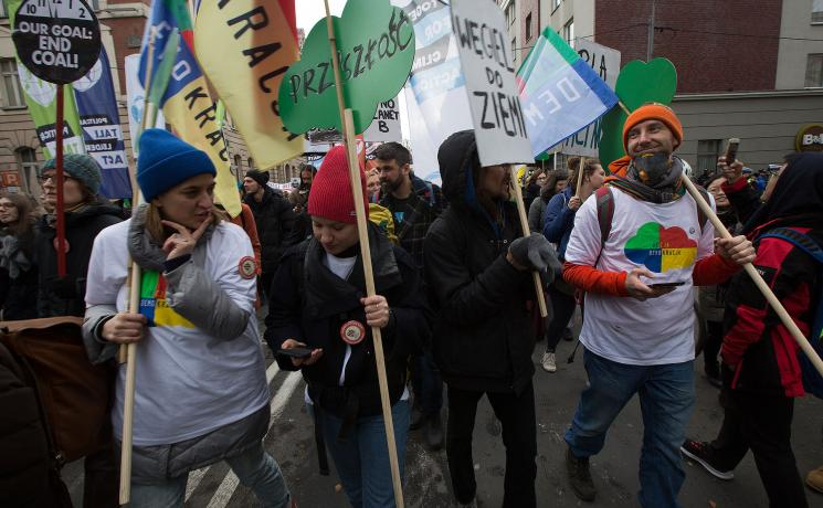 A march took place through Katowice, Poland during the UN climate negotiations of COP24, with marchers from all over the world, protesting the dangerously slow process of the negotiations. Photo: LWF/Sean Hawkey