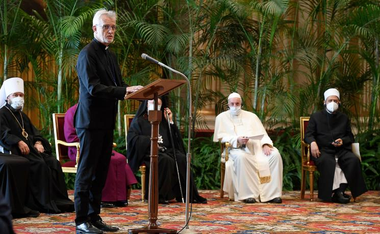 LWF General Secretary Rev. Dr Martin Junge addresses faith leaders gathered in the Vatican for the 'Faith and Science: Towards COP26' meeting. Photo: Vatican Media