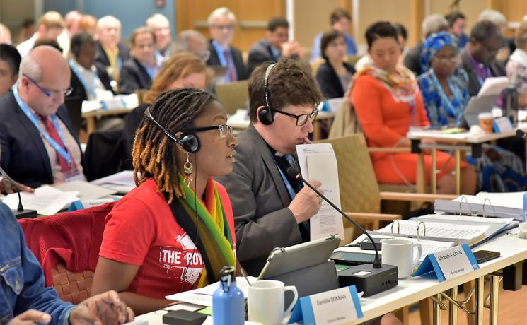 Council member Daniëlle Dokman makes a submission during the 20 June session of the LWF Council meeting. Photo: LWF/M. Renaux