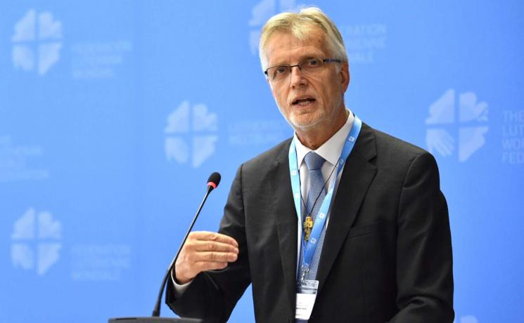 Report of the LWF General Secretary Martin Junge at the Council 2018 in Geneva. Photo: LWF/Albin Hillert