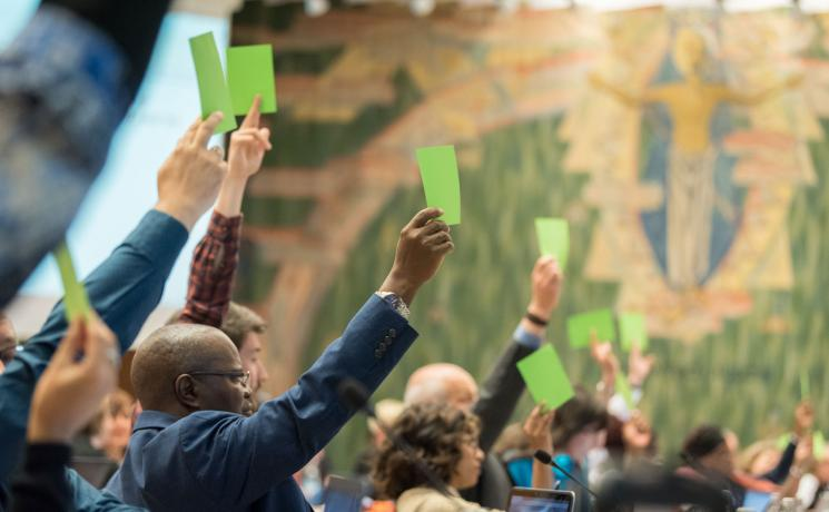 Council members voting on a new structure for the LWF Communion Office. Photo: LWF/Albin Hillert