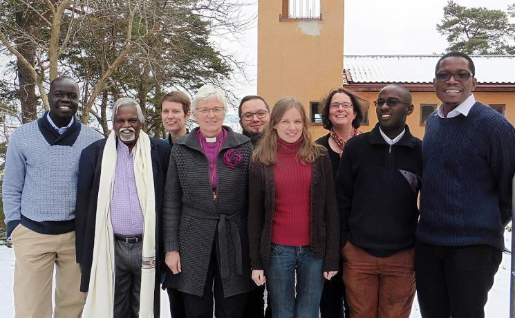 Rev. Dr Busi Suneel Bhanu (second left), other LWF member church representatives and staff, at the February meeting of the study group on Lutheran engagement in the public space, in Sigtuna, Sweden. Photo: LWF