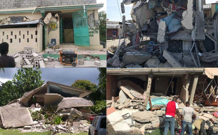 Houses and other buildings destroyed by the 7.2-magnitude earthquake which hit the south-west of the country on 14 August 2021. Photos: KORAL/MR Batismé
