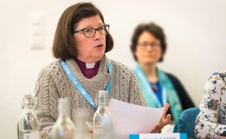 ELCA Presiding Bishop Elizabeth A. Eaton urges members of the church to be peace-builders. Photo: LWF/Albin Hillert