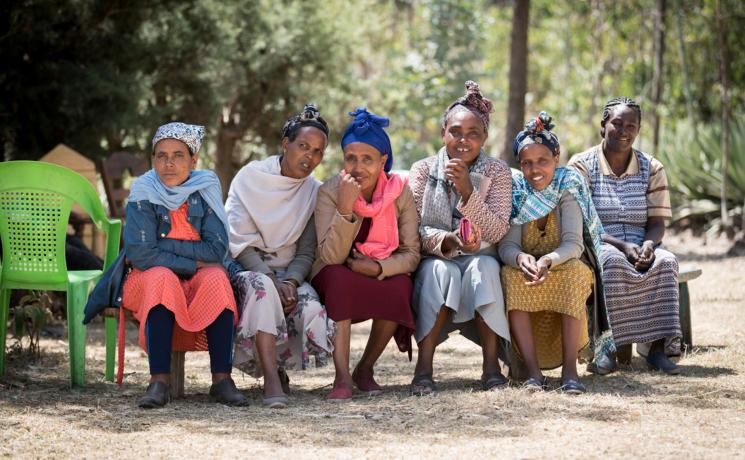 Participants in the women's self-help group Tesfa ('hope') gather for the day. All photos: LWF/Albin Hillert